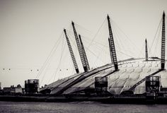 The Millennium Dome. LONDON, UK - MARCH 16, 2014: The Millennium Dome, Londons famous entertainment and shopping arena. Processed in black and white Royalty Free Stock Images