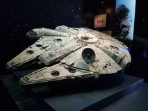 Millennium Falcon model. Model of the Millennium Falcon, the famous spaceship from Star Wars, as displayed during the Star Wars Identities exposition royalty free stock image