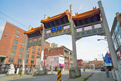 Millennium Gate in Vancouvers Chinatown,Canada. Millennium Gate on Pender Street in Chinatown in Vancouver, British Columbia, Canada Royalty Free Stock Image