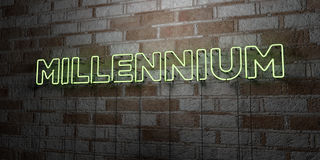 MILLENNIUM - Glowing Neon Sign on stonework wall - 3D rendered royalty free stock illustration. Can be used for online banner ads and direct mailers Stock Photos