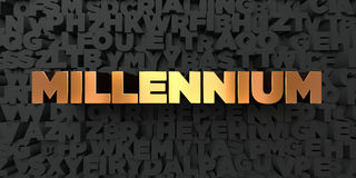 Millennium - Gold text on black background - 3D rendered royalty free stock picture. This image can be used for an online website banner ad or a print postcard Royalty Free Stock Images