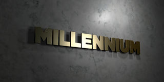 Millennium - Gold text on black background - 3D rendered royalty free stock picture. This image can be used for an online website banner ad or a print postcard Royalty Free Stock Image