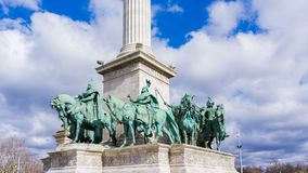 Millennium Monument on the Heroes` Square in Budapest, Hungary. stock photography