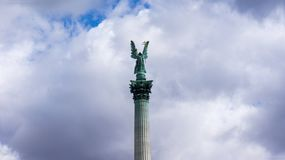 Millennium Monument on the Heroes` Square in Budapest, Hungary. stock photo