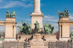 Millennium Monument on the Heroes' Square or Hosok Tere is one of the major squares in Budapest. BUDAPEST, HUNGARY - FEBRUARY 22, 2016: Millennium Monument on Stock Image