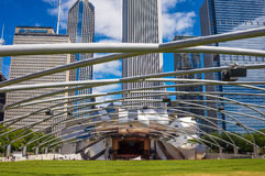 Millennium Park. CHICAGO - JULY 19: Jay Pritzker Pavilion in Millennium Park  on July 19, 2013 in Chicago. Outdoor Amphitheater in Downtown Chicago Royalty Free Stock Photos