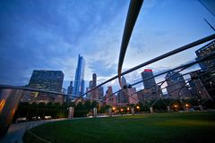 Millennium Park: City of Chicago. Downtown Chicago at Dusk. Illinois State USA. American Cities Collection Stock Photos