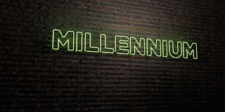 MILLENNIUM -Realistic Neon Sign on Brick Wall background - 3D rendered royalty free stock image. Can be used for online banner ads and direct mailers Royalty Free Stock Image