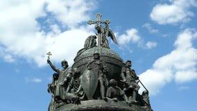 Millennium of Russia monument in Veliky Novgorod stock footage