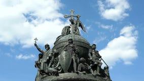 Millennium of Russia monument in Veliky Novgorod stock video