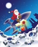 Millennium Santa. Modern Santa on a space rocket royalty free illustration