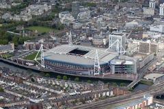 Millennium Stadium. An aerial view of the Millennium Stadium in Cardiff City Centre Royalty Free Stock Photo