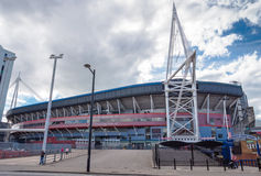 Millennium Stadium at Cardiff Arms Park. CARDIFF, WALES - 5 OCT. 2013: The Millennium Stadium at Cardiff Arms Park in the centre of Cardiff is primarily used to Royalty Free Stock Photo