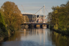Millennium Stadium and River Taff from Bute Park Stock Images