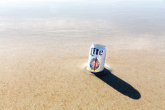 Miller Lite beer in the sea Stock Images