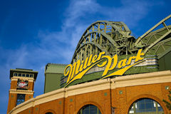 Miller Park Home of the Milwaukee Brewers. Miller Park is a ballpark located in Milwaukee, Wisconsin. It is home to the Milwaukee Brewers and was built as a Royalty Free Stock Photo