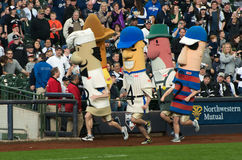 Miller Park Racing Sausages, Milwaukee Brewers Royalty Free Stock Image