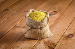 Millet in bags on a wooden table Stock Photography