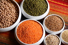 Millet, barley, buckwheat grains and other Royalty Free Stock Image