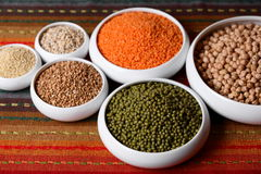 Millet, barley, buckwheat grains and other Stock Photos