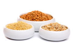 Millet, buckwheat grains and barley Royalty Free Stock Photo