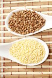Millet and buckwheat Stock Photo