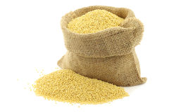 Millet in a burlap bag Royalty Free Stock Images