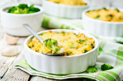 Millet casserole with broccoli and cheese Royalty Free Stock Images
