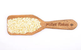 Millet flakes on shovel Royalty Free Stock Image