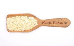 Millet flakes on shovel Royalty Free Stock Image