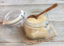 Millet in a glass jar Stock Images