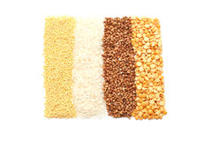 Millet groats, buckwheat, peas and rice Stock Image