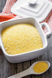 Millet. Ground millet in a pot Stock Image