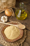 Millet and olive oil rustic background Stock Photos