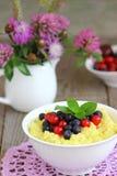 Millet porridge. Bowl with fresh berries Royalty Free Stock Photos