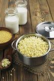 Millet porridge  in a metal pan Royalty Free Stock Photos