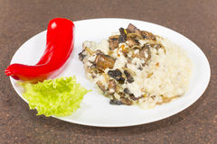 Millet porridge with mushrooms Royalty Free Stock Photo