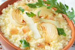 Millet porridge with onions and fat Stock Photography