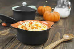 Millet porridge with pumpkin Royalty Free Stock Image