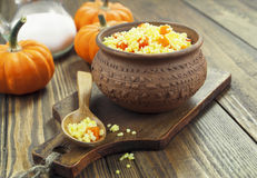 Millet porridge with pumpkin Royalty Free Stock Photography