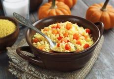 Millet porridge with pumpkin Royalty Free Stock Photo