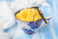 Millet and Rice Kasha (Porridge) with Pumpkin. Copy space for your text stock image