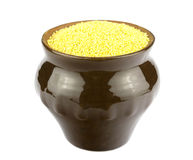 Millet in a round pot isolated Stock Photo