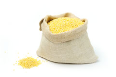 Millets in a burlap bag Stock Images