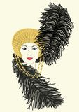 Millicent's Mardi Gras Hat. An illustration of a woman wearing a Mardi Gras hat Stock Photography