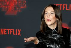 Millie Bobby Brown. At the Netflix`s season 2 premiere of `Stranger Things` held at the Regency Village Theatre in Westwood, USA on October 26, 2017 royalty free stock image