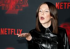 Millie Bobby Brown. At the Netflix`s season 2 premiere of `Stranger Things` held at the Regency Village Theatre in Westwood, USA on October 26, 2017 stock image