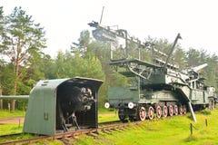 305-millimètre arme à feu ferroviaire TM-3-12 Images stock