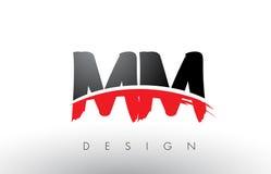Millimètre M M Brush Logo Letters avec l'avant de brosse de bruissement de rouge et de noir illustration de vecteur