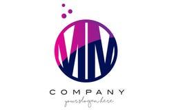 Millimètre M M Circle Letter Logo Design avec Dots Bubbles pourpre Image stock